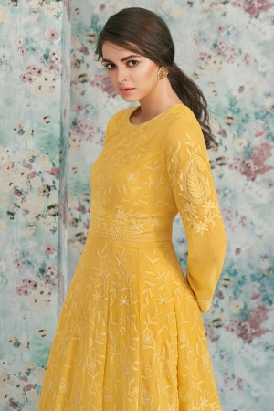 Yellow Heavy Faux Georgette Salwar Kameez