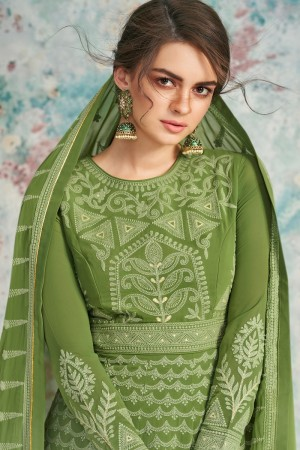 Green Heavy Faux Georgette Salwar Kameez