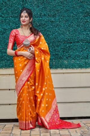 Orange Banarasi Silk Saree with Blouse