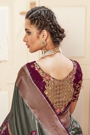 Mehendi Banarasi Pure Silk Saree with Blouse