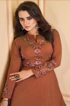 Orange Heavy Soft Silk Gown