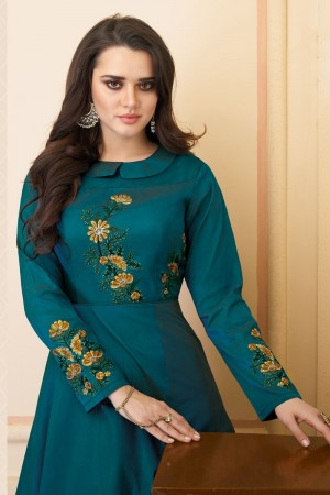 Blue Heavy Soft Silk Gown