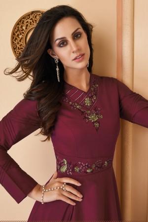 Maroon Heavy Soft Silk Gown