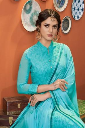 Sky Blue Heavy Faux Georgette Salwar Kameez