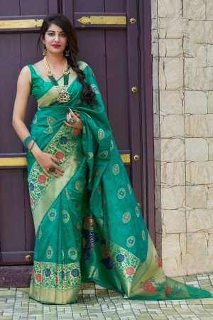 Light Teal Banarasi Silk Saree with Blouse