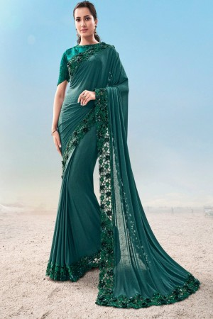 Rama Fancy Fabric Saree with Blouse