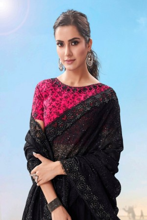 Black Fancy Fabric Saree with Blouse