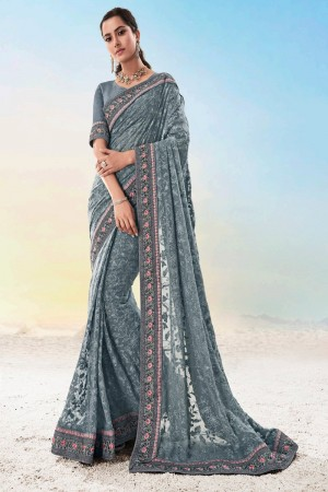 Grey Pure Georgette Saree with Blouse