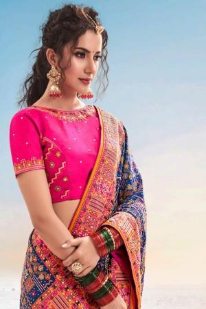 Blue Shana Silk Saree with Blouse