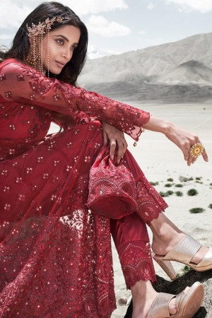 Red Net Salwar Kameez