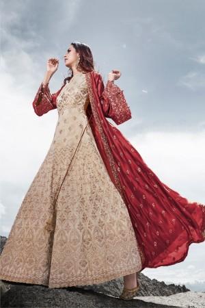 Beige & Maroon Silk Salwar Kameez