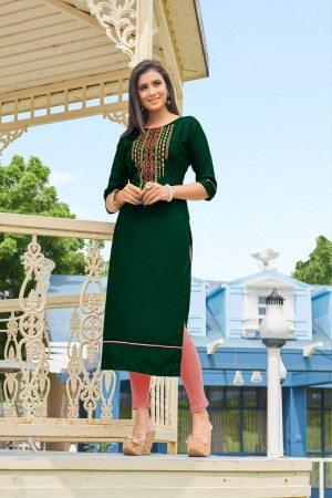 DarkGreen Rubby Silk Kurti
