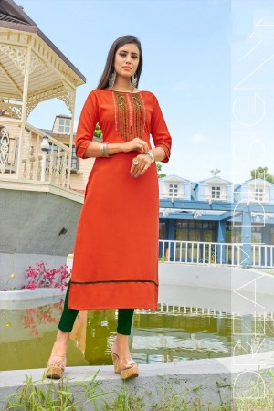 Orange Rubby Silk Kurti