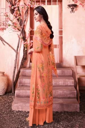 Orange Schiffly Georgette Salwar Kameez