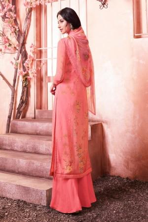 Pink Schiffly Georgette Salwar Kameez