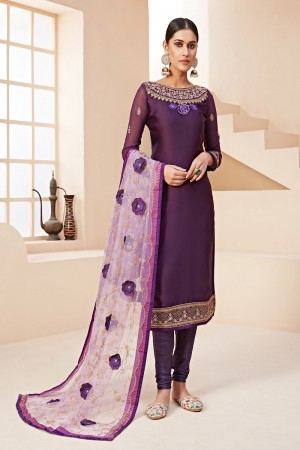 Purple Satin Georgette Salwar Kameez