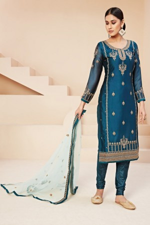 Aqua Blue Rangoli Georgette Salwar Kameez