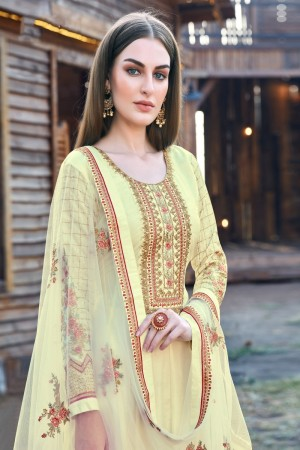 Light Yellow Dola Silk Salwar Kameez