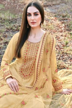 Golden Dola Silk Salwar Kameez