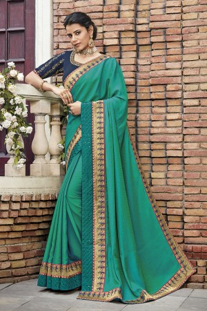Light Teal Satin Georgette Saree with Blouse