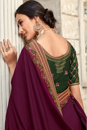 Wine & Light Pink Satin Georgette Saree with Blouse
