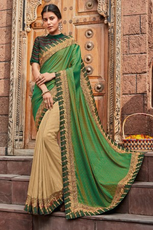 Green & Cream Satin Georgette Saree with Blouse