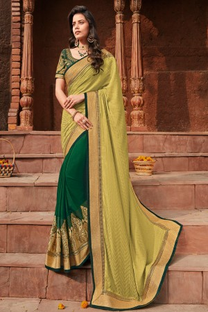 Yellow & Green Satin Georgette Saree with Blouse