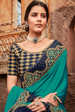 Rama & Navy Blue Satin Georgette Saree with Blouse