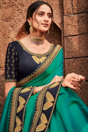 Rama Satin Georgette Saree with Blouse