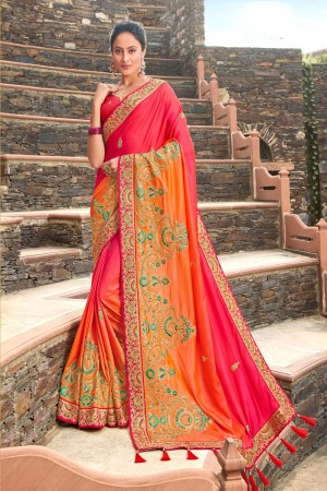 Red & Orange Satin Georgette Saree with Blouse
