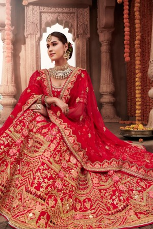 Red Heavy Slub Silk Lehenga Choli