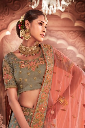 Grey Green Heavy Slub Silk Lehenga Choli