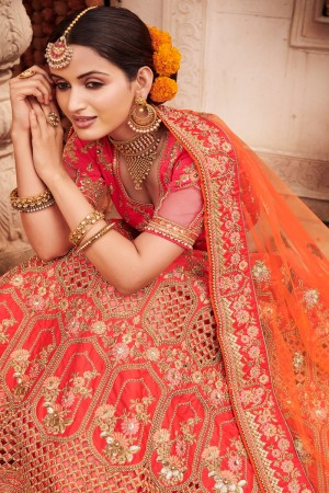 Hot Pink Heavy Slub Silk Lehenga Choli