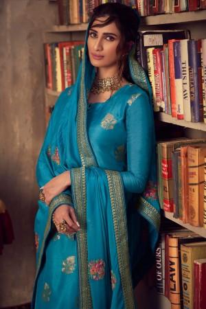Blue Pure Viscose Jacquard Salwar Kameez