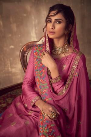 Pink Pure Viscose Jacquard Salwar Kameez