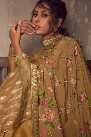 Light Brown Pure Viscose Jacquard Salwar Kameez