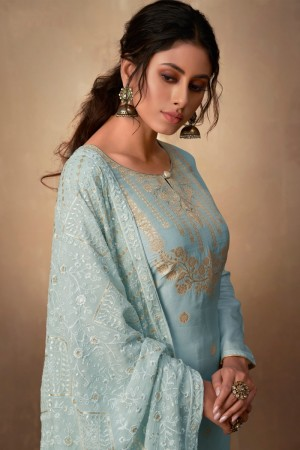 Light Blue Pure Banarasi Jacquard Salwar Kameez