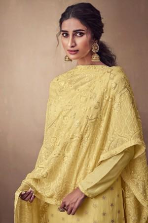 Yellow Pure Banarasi Jacquard Salwar Kameez