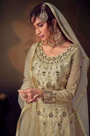 Cream Net Salwar Kameez