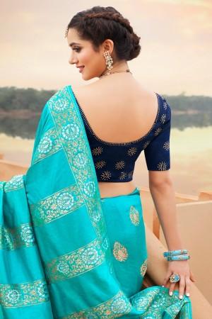 Dark Sky Blue Silk Saree with Blouse