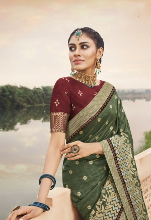 Mehendi Silk Saree with Blouse