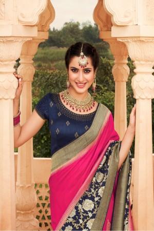 Pink Silk Saree with Blouse