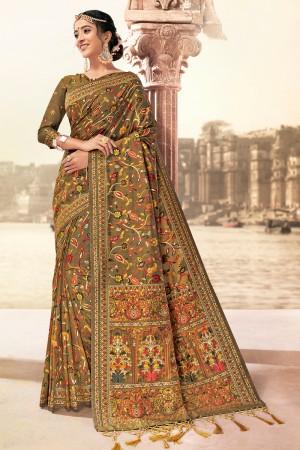 Golden Banarasi Silk Saree with Blouse