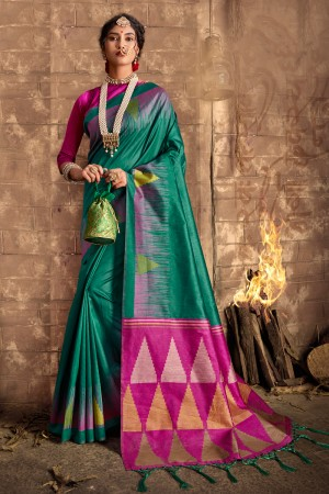 Teal Silk Saree with Blouse
