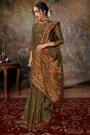Mehendi Banarasi Silk Saree with Blouse