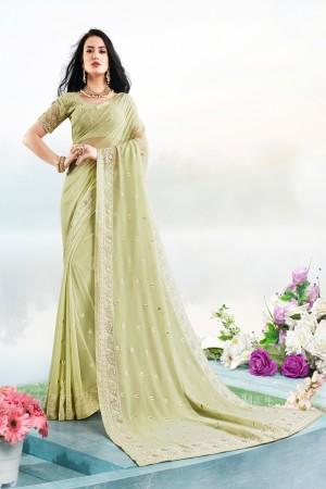 Pista Georgette Saree with Blouse