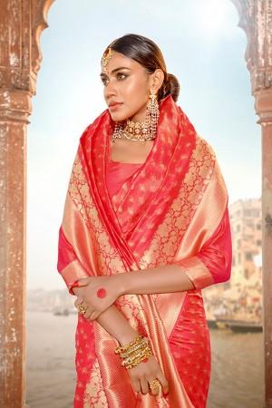 Peach Banarasi Silk Saree with Blouse