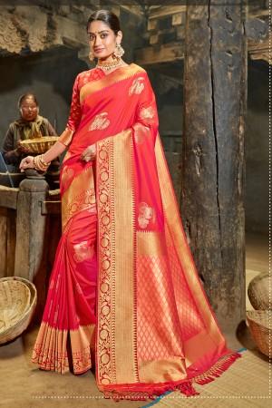 Tometo Red Banarasi Silk Saree with Blouse