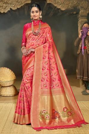 Pink Banarasi Silk Saree with Blouse