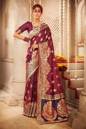 Magenta Banarasi Silk Saree with Blouse